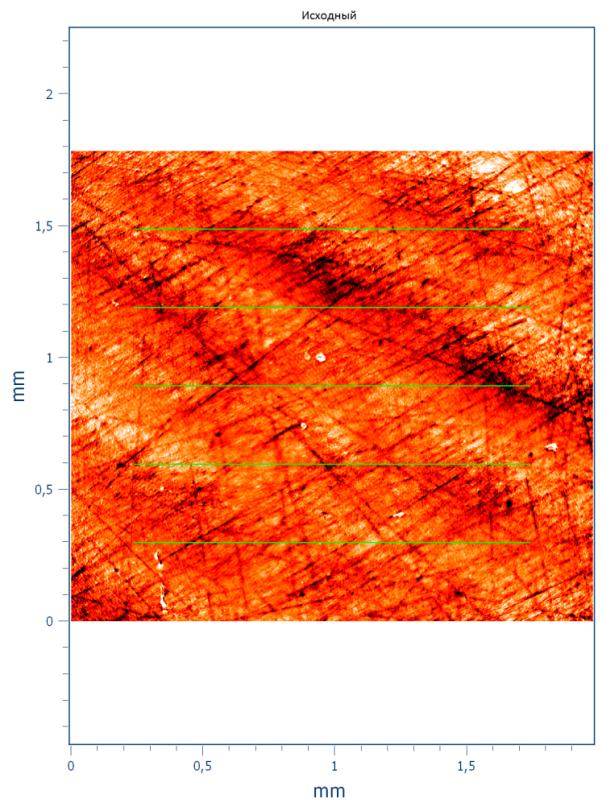 Выбор точек замеров для определения линейной шероховатости образца 1