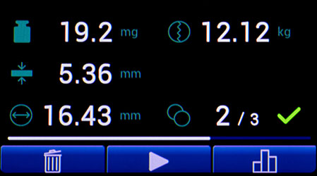 Дисплей тестера прочности таблеток TBF 100i